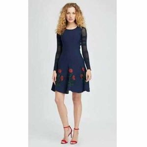 Oscar dela Renta Fit & Flare Blue Knit Poppy Dress